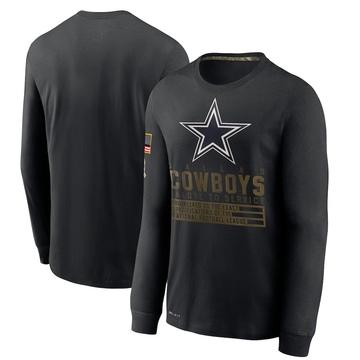 Men's Nike Dallas Cowboys Black 2020 Salute to Service Sideline Performance Long Sleeve T-Shirt -