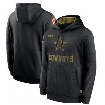 Men's Nike Dallas Cowboys Black 2020 Salute to Service Sideline Performance Pullover Hoodie -