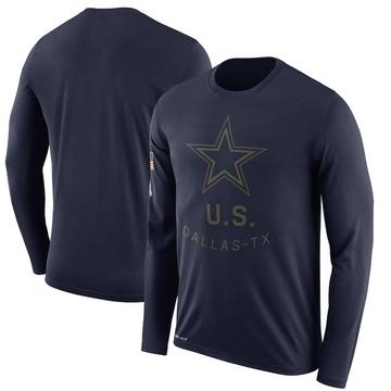 Men's Nike Dallas Cowboys Navy 2018 Salute to Service Sideline Performance Long Sleeve T-Shirt - Legend