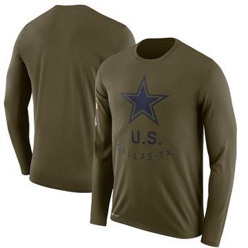 Men's Nike Dallas Cowboys Olive 2018 Salute to Service Sideline Performance Long Sleeve T-Shirt - Legend