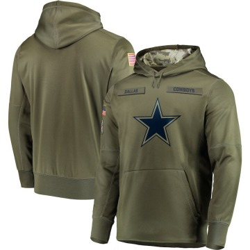 Men's Nike Dallas Cowboys Olive 2018 Salute to Service Sideline Therma Performance Pullover Hoodie -