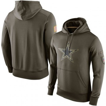 Men's Nike Dallas Cowboys Olive Salute To Service KO Performance Hoodie -