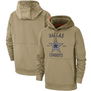 Men's Nike Dallas Cowboys Tan 2019 Salute to Service Sideline Therma Pullover Hoodie -
