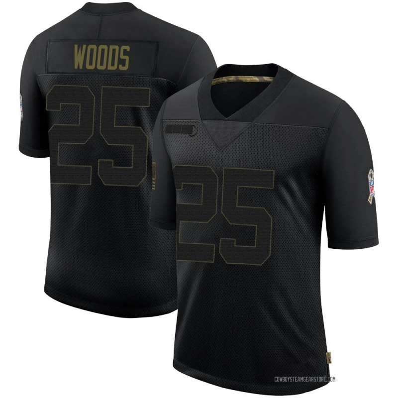 Men's Nike Dallas Cowboys Xavier Woods Black 2020 Salute To Service Jersey - Limited