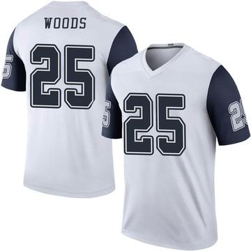 Men's Dallas Cowboys Xavier Woods White Color Rush Jersey - Legend