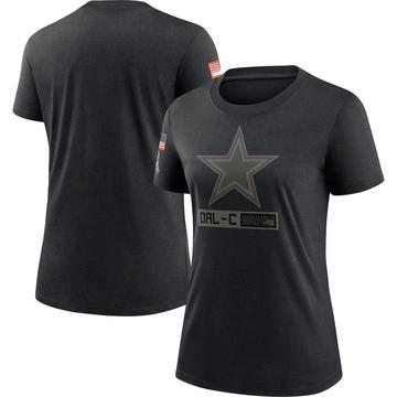 Women's Nike Dallas Cowboys Black 2020 Salute To Service Performance T-Shirt -