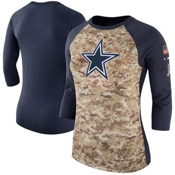 Women's Nike Dallas Cowboys Camo /Navy Salute to Service 2017 Three-Quarter Raglan Sleeve T-Shirt - Legend