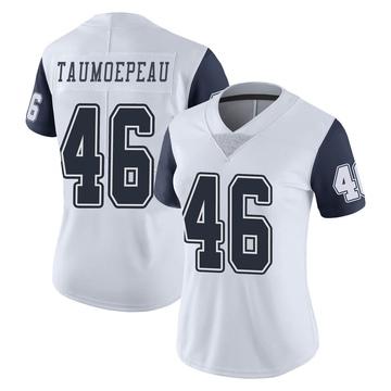 Women's Nike Dallas Cowboys Charlie Taumoepeau White Color Rush Vapor Untouchable Jersey - Limited