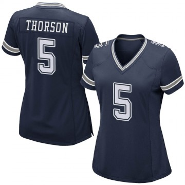 Women's Nike Dallas Cowboys Clayton Thorson Navy Team Color Jersey - Game