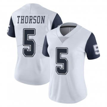 Women's Nike Dallas Cowboys Clayton Thorson White Color Rush Vapor Untouchable Jersey - Limited
