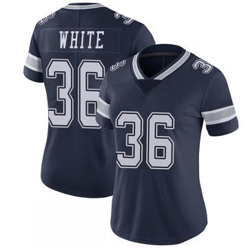 Women's Nike Dallas Cowboys D.J. White White Navy 100th Vapor Jersey - Limited
