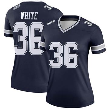 Women's Nike Dallas Cowboys D.J. White White Navy Jersey - Legend