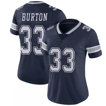 Women's Nike Dallas Cowboys Deante Burton Navy 100th Vapor Jersey - Limited