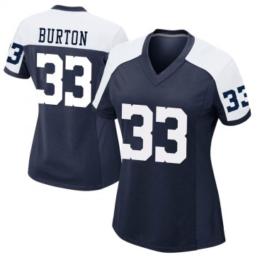 Women's Nike Dallas Cowboys Deante Burton Navy Alternate Jersey - Game