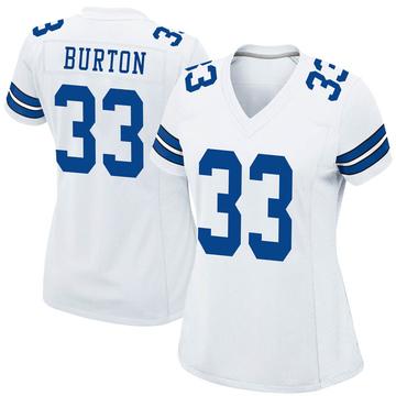 Women's Nike Dallas Cowboys Deante Burton White Jersey - Game