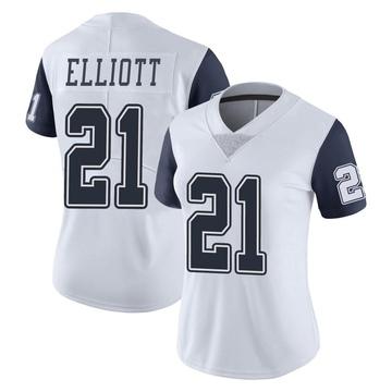 Women's Nike Dallas Cowboys Ezekiel Elliott White Color Rush Vapor Untouchable Jersey - Limited