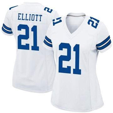 Women's Nike Dallas Cowboys Ezekiel Elliott White Jersey - Game
