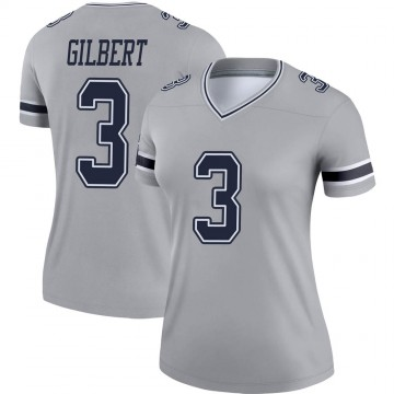 Women's Nike Dallas Cowboys Garrett Gilbert Gray Inverted Jersey - Legend