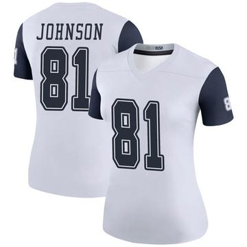 Women's Nike Dallas Cowboys Jon'Vea Johnson White Color Rush Jersey - Legend