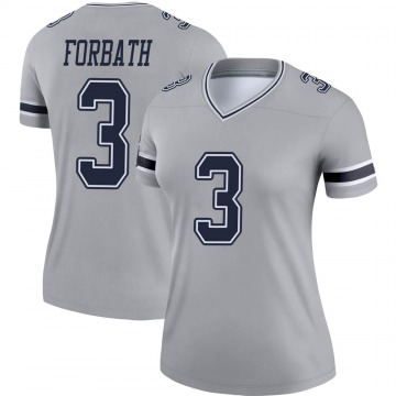 Women's Nike Dallas Cowboys Kai Forbath Gray Inverted Jersey - Legend