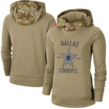 Women's Nike Dallas Cowboys Khaki 2019 Salute to Service Therma Pullover Hoodie -