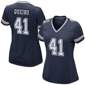 Women's Nike Dallas Cowboys Kyle Queiro Navy Team Color Jersey - Game