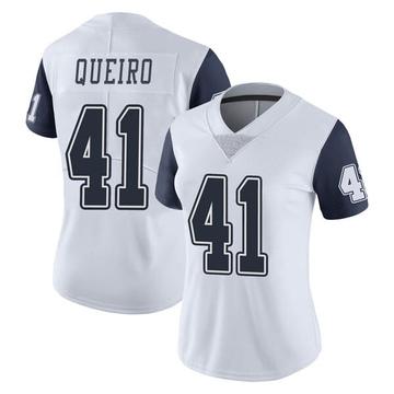 Women's Nike Dallas Cowboys Kyle Queiro White Color Rush Vapor Untouchable Jersey - Limited