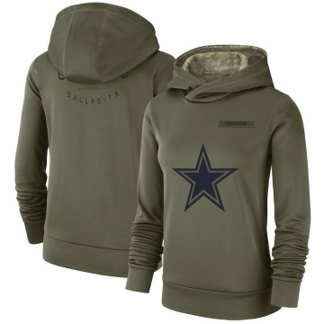 Women's Nike Dallas Cowboys Olive 2018 Salute to Service Team Logo Performance Pullover Hoodie -
