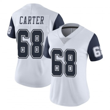 Women's Nike Dallas Cowboys Ron'Dell Carter White Color Rush Vapor Untouchable Jersey - Limited