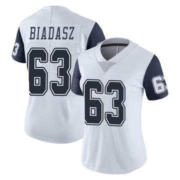 Women's Nike Dallas Cowboys Tyler Biadasz White Color Rush Vapor Untouchable Jersey - Limited
