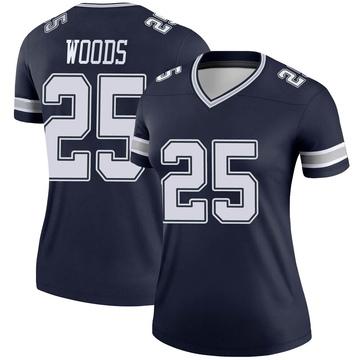 Women's Nike Dallas Cowboys Xavier Woods Navy Jersey - Legend