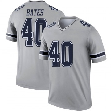Youth Nike Dallas Cowboys Bill Bates Gray Inverted Jersey - Legend