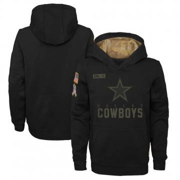 Youth Nike Dallas Cowboys Black 2020 Salute to Service Pullover Performance Hoodie -
