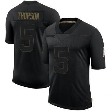 Youth Nike Dallas Cowboys Clayton Thorson Black 2020 Salute To Service Jersey - Limited
