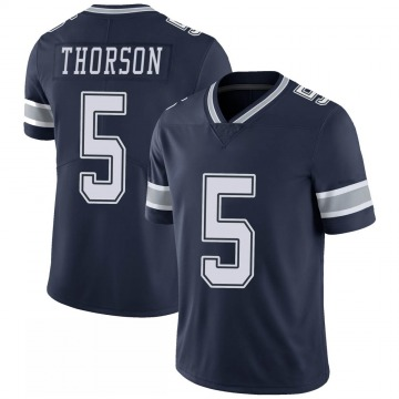 Youth Nike Dallas Cowboys Clayton Thorson Navy 100th Vapor Jersey - Limited