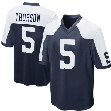 Youth Nike Dallas Cowboys Clayton Thorson Navy Blue Throwback Jersey - Game