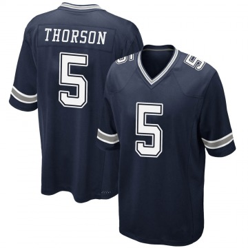 Youth Nike Dallas Cowboys Clayton Thorson Navy Team Color Jersey - Game