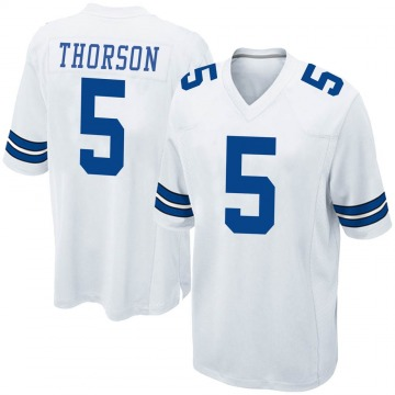 Youth Nike Dallas Cowboys Clayton Thorson White Jersey - Game
