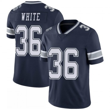 Youth Nike Dallas Cowboys D.J. White White Navy 100th Vapor Jersey - Limited