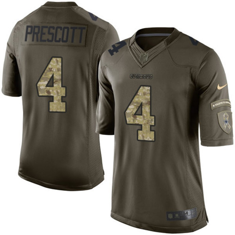 online store ea884 6c7d8 Youth Nike Dallas Cowboys Dak Prescott Green Salute to Service Jersey -  Limited