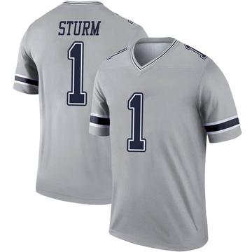 Youth Nike Dallas Cowboys Dalton Sturm Gray Inverted Jersey - Legend