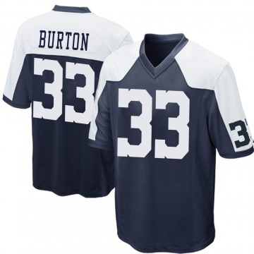 Youth Nike Dallas Cowboys Deante Burton Navy Blue Throwback Jersey - Game