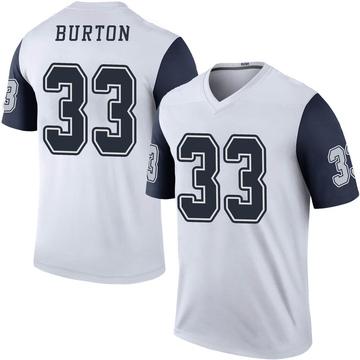 Youth Nike Dallas Cowboys Deante Burton White Color Rush Jersey - Legend