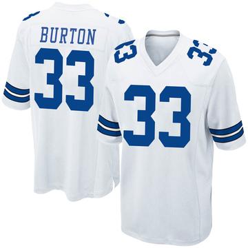 Youth Nike Dallas Cowboys Deante Burton White Jersey - Game