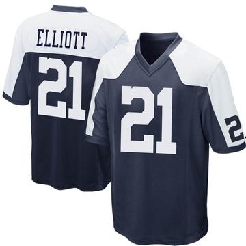 Youth Nike Dallas Cowboys Ezekiel Elliott Navy Blue Throwback Jersey - Game