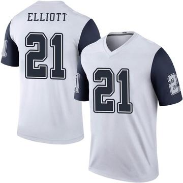Youth Nike Dallas Cowboys Ezekiel Elliott White Color Rush Jersey - Legend