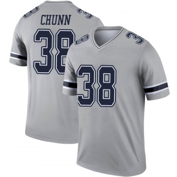 Youth Nike Dallas Cowboys Jordan Chunn Gray Inverted Jersey - Legend