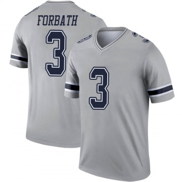 Youth Nike Dallas Cowboys Kai Forbath Gray Inverted Jersey - Legend