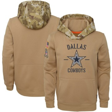 Youth Nike Dallas Cowboys Khaki 2019 Salute to Service Therma Pullover Hoodie -