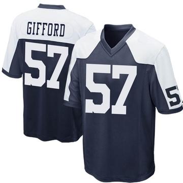 Youth Nike Dallas Cowboys Luke Gifford Navy Blue Throwback Jersey - Game